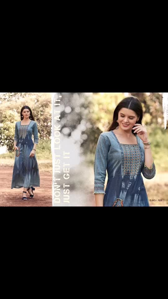 Fz📌 *Kajree*  has launched  _Catalog name_ :  *Blue Lee Vol - 3*  🔸 _Fabric Details_ 🔸  ▪Top :-Denim Gowns With Embroidery Work  ▪Total Design :- 9 ▪Size:- M-38, L-40, XL-42, XXL-44  *SIZE M:- 921 , 929   *SIZE L :- 922 , 929  *SIZE XL :- 927 , 928 , 929  *SIZE XXL :- 923 , 928 , 929  *SINGLE PCS RATE 900  + SHIP*
