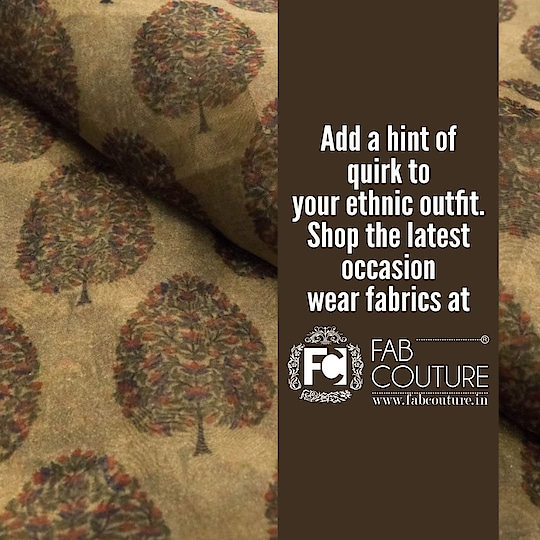 Add a quirk to your ethnic outfit. Shop the latest occasion wear  fabrics at Fab Couture!!!  For shopping visit us : www.fabcouture.in  #FabCouture! #DesignerFabric #AffordablePrices #DesignerDresses #Fabric #Fashion #DesignerWear #ModernWomen #DesiLook #Embroidered #WeddingFashion #EthnicAttire #WesternLook #affordablefashion #GreatDesignsStartwithGreatFabrics #LightnBrightColors #StandApartfromtheCrowd #EmbroideredFabrics