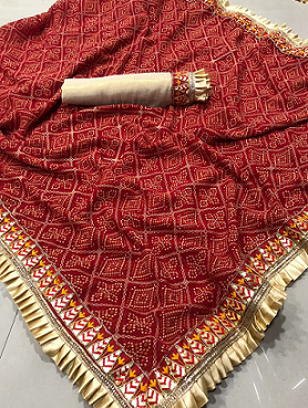 ***Authentic Bandhani Saree*** Bandhani saree in georgette fabric with weaving and embroidery work border with contrast blouse piece with embroidery work lace Contact or WA : 98254 42027 Price : 1220/- Product Code : 1307 #traditionalsaree #bandhani #wedding-roposo #thebazaar #online-shopping