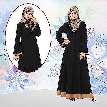 Look the best version of yourself in this sophisticated flowy black abaya with bell style sleeves and contrast gold detailing on the hemline! Shop Now: https://bit.ly/2pzghz2 #abaya #hijab #traditionalclothing #outfits #muslimahchamber #frontopenabaya #muslimwomen #muslimgirl #hijabista #islamicwear #hijabfashion #hijabonline #hijabstyle #hijabootd #abayaindia #abayadress #abayamoden #abayalover #abayashop #abayafashion #embroideredabaya #blackabaya #blackhijab #hijabista #hijaboutfit #hijabmuslim #hijabi #islamicwear #islamicfashion #muslimahwear