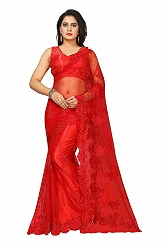 Surat Creations Women Net Embroidered #Pearl Work #Saree with #Blouse Piece @ Rs.1299.Buy Now at http://bit.ly/2EipW48