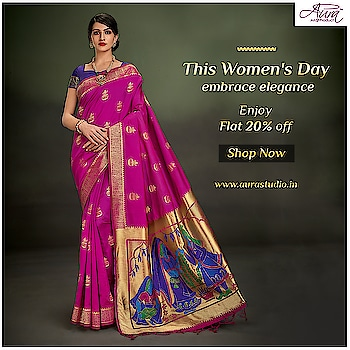 "This woman's day swirl in the beauty of classic drapes and enjoy a discount flat 20% off on Aura's ""Regal""collection.  Buy now>>http://bit.ly/2U6g04x  #aurasaree #designersaree #blouses #designerblouses #traditional #thesignatureweave"