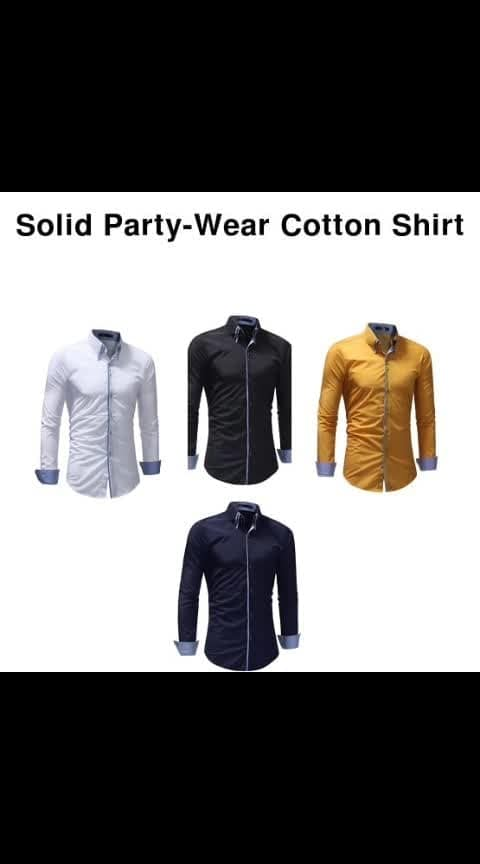 Solid Partywear Cotton Shirt - - #fashion #style #stylish #love #photography #instapic #me #cute #photooftheday #nails #hair #beauty #beautiful #instagood #pretty #swag #pink #girl #eyes #design #model #dress #shoes #heels #styles #outfit #purse #jewelry #shopping