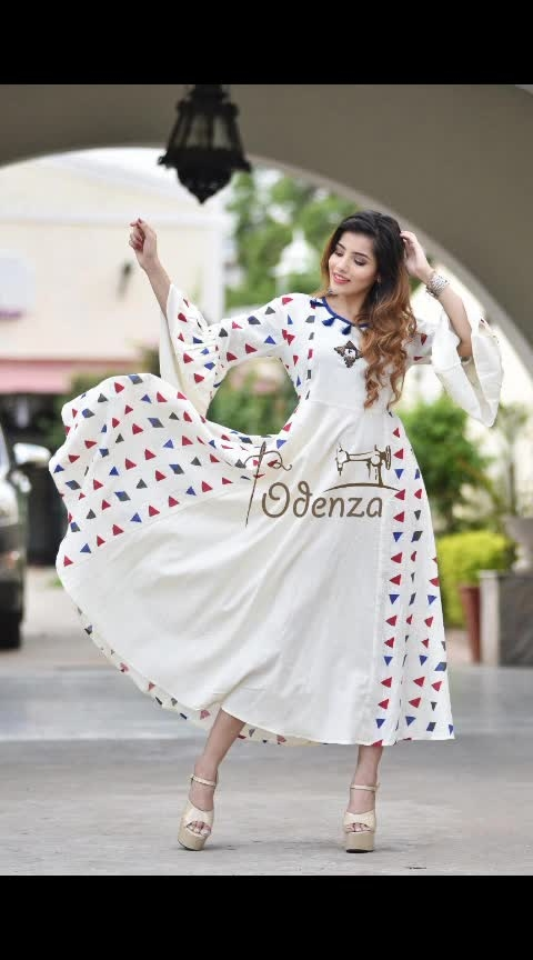 Design of era  10 denza presents😍 Cotton slub - gown floor lenght with hand work  stylish button and tassel , bell sleeves & full flair length 53  38 40 42 44  Single 1399 freeship  Book fast