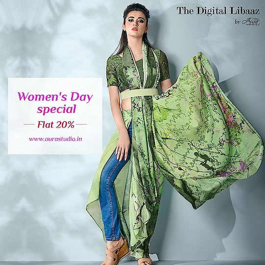 "This women's day indulge in the beauty of Aura Studio ""Ziva"" collection and feel the charm of digital printed sarees at flat 20% off.  Shop now >> http://bit.ly/2Tl8thF  #women-fashion #womenstyle #indianfashion #womensdayspecial #DigitalPrint #digitalprinted"