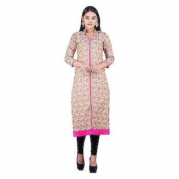 Khadi Village India Women's A- Line Chanderi Straight Kurta   Care Instructions: Hand Wash Cold, Gentle | Do not Bleach | Tumble Dry, Low Heat | Iron, Low Heat | Back Side Ironing Material: Chanderi : Color: Pink Neck Type: Collar Neck; Sleeve Type: 3/4 sleeves ; Item Length: Calf Long Package Contents: 1 High Low Kurti, Best Suited as Work Wear. Team it with a pair of Denims or Trousers and a light Jacket of Contrast Color for Sober yet Stylish Rich Look Colour Declaration : There might be slight variation in the actual color of the product due to different screen resolutions.  Buy Now :- https://amzn.to/2EAAtYy  #kurti #kurtiforwomen #womenskurti #straightkurti #chanderikurti #casualkurti #formalkurti