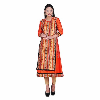 Khadi Village India Women's Chanderi Straight Kurta   Care Instructions: Hand Wash Cold, Gentle | Do not Bleach | Tumble Dry, Low Heat | Iron, Low Heat | Back Side Ironing Material: Chanderi : Color: Orange Neck Type: Round Neck; Sleeve Type: 3/4 sleeves ; Item Length: Calf Long Package Contents: 1 High Low Kurti, Best Suited as Work Wear. Team it with a pair of Denims or Trousers and a light Jacket of Contrast Color for Sober yet Stylish Rich Look Colour Declaration : There might be slight variation in the actual color of the product due to different screen resolutions.  Buy Now :-  https://amzn.to/2TsrtOI  #kurti #kurtiforwomen #womenskurti #straightkurti #chanderikurti #casualkurti #formalkurti