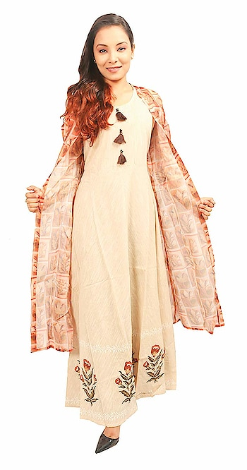 N's Boutique Cotton Beige Anarkali Kurti with Jacket for Women   N's Boutique is a women's ethnic and fusion wear value brand. Our range is sharply priced and offers an array of products across solids, prints. We offer the right blend of quality, style and value aimed to delight our customers.  This kurta made from cotton with printed style. This kurta has long straight fit kurta with front-slit pattern all over, has 3/4th sleeves.  Buy Now :- https://amzn.to/2NNhzBZ   #kurti #kurtiforwomen #womenskurti #casualkurti #formalkurti #ethnicwear #fusionwear