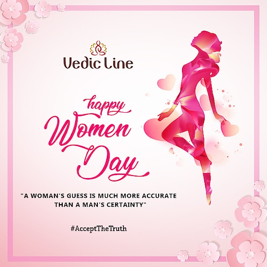 """A/Q to Rudyard Kipling (Nobel Prize in Literature)  """"A woman's guess is much more accurate than a man's certainty.""""  So this Women's day we dare all Men to #AcceptTheTruth and make her feel special for this day by tagging a woman in your circle who do you think is more intelligent than you. Also, share this post with your friends to whom you want they should do the same.  #WomensDay #IWD #WomensMonth #WomensPower #WomensWave #StrongWomen #Vedicline #SkinMaster #AyurvedicProducts #BeautyProducts #SkinCare #NaturalSkinCare #EssentialAyurveda #CosmeticProduct #MadeinIndia #HealthySkin #Hearbal #Organic #Cosmetic #BeautyAddict"""