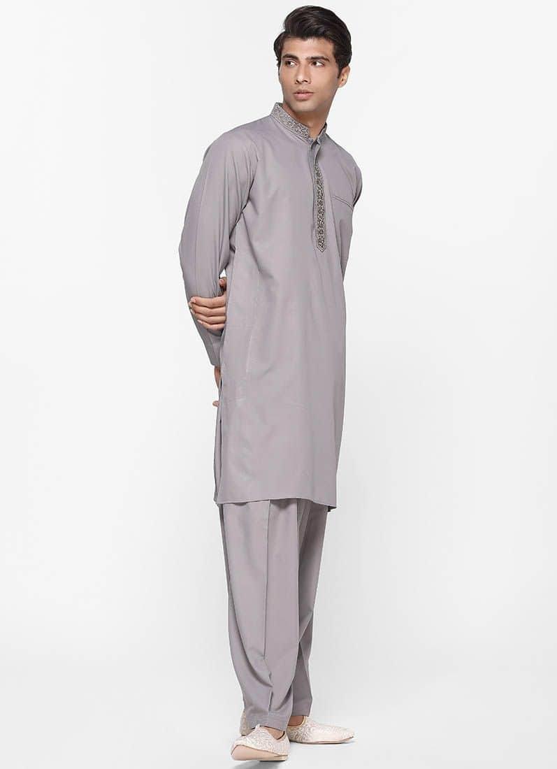 Diya Online - Men Threaded Grey Salwar Suit  Link: https://bit.ly/2VQdhg1  #salwarsuit #men #menfashion #drapper #roposo #roposodiaries