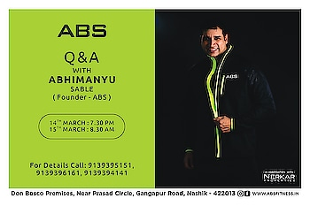 Can't wait to answer your questions !  Special Q&A session with ABS Founder Abhimanyu Sable.  Time – 14th March : 7.30 PM 15th March : 8.30 AM Contact - 9139394141/5151/6161 Address - Don Bosco Premises, next to Bosco Centre, Prasad Circle, Gangapur Road, Nashik.  #abhimanyusable #fitnesscertifation #certifiedtrainer #AbsFitnessNWellness #absnashik #absolutelyalive #Nashikfame #abs #Nasik #Nashik #fitnessmotivation #training #gym #healthylifestyle