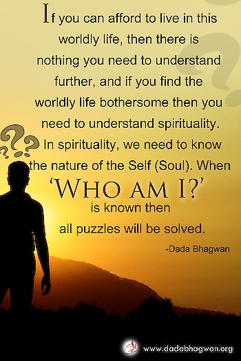 If you can afford to live in this worldly life, then there is nothing you need to understand further, and if you find the worldly life bothersome then you need to understand spirituality. In spirituality, we need to know the nature of the Self (Soul). When 'who am I?' is known then all puzzles will be solved.   To know more visit :  https://www.dadabhagwan.org/path-to-happiness/spiritual-science/who-am-i-realize-your-true-self/  #self #soul #spiritual #spirituality #quote #whoami