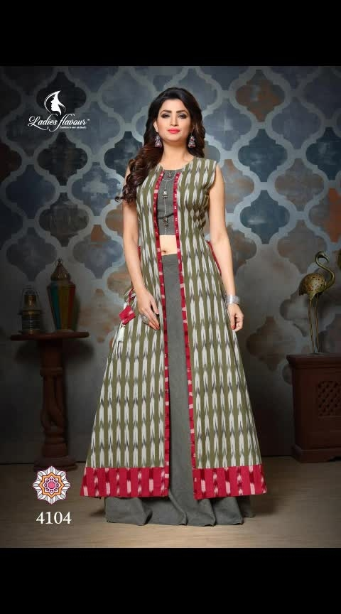 """*#NEW ARRIVALS IN JACKET STYLE*  👗 *#Ladies Flavour* 👗 Brand Name : *#Ladies Flavour* Catalog : *#Ram-Leela vol 3* Design : *6* Fabric : *Pure handloom ikkat - South handloom coton  With Hand work* Size : *M(38),L(40), XL(42) , 2XL(44)* Length :- *56""""* Dispatch :- *Ready to ship*  Note :- *Sleeve Attached*              *Dry clean only*  D. N.  SIZE   4101 - M   XL  XXL   4103 - XXL  4104 - XL   4105 - L  XXL  4106 - M  L  XL  XXL   *SINGLE PIECE PRICE - 1690+SHIPPING*  *PING US FOR FULL CATALOGUE*  *READY TO SHIP*"""