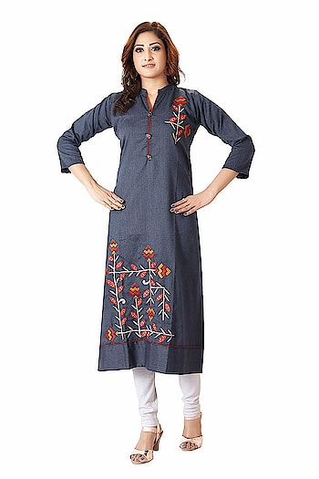 A&J Denim Embroidered Long Sleeve V-neck Full Stitch Long A-Line Kurti For Women & Girls  Best party wear Crafted from A&J latest style new design Kurtis for Girls/Women It is light in weight and will be soft against your skin. Its unique design and beautiful color will fetch a lot of second glances as you club it with contrast colored pumps and flashy accessory Yet from day to night with ease wearing a dress. Tailored in a regular fit, this kurta for women will keep you comfortable all day long. A pretty kurta to wear at parties, functions or just casually which is stylish & comfortable to wear or maybe you are looking for a decent gift for your mother, sister or loved ones. You need - a readymade kurta made of excellent fabric with durable stitching to make it last longer. You get - everything you want, need and desire with New Ethnic Fashion party wear kurta. We believe in better clothing products cause helping women's to look pretty, to make women's feel comfortable is our ultimate goal. BUY NOW- https://amzn.to/2JcvEKs