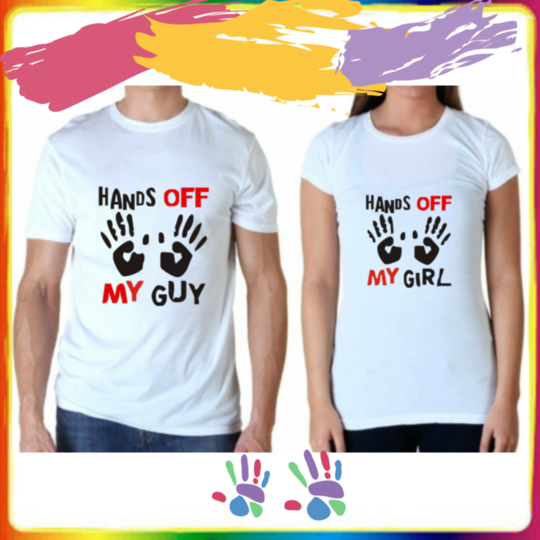 "Special holi Tshirt at winsant Premium Quality ""Hands Off Guy & Girl"" Printed Cotton Couple T-Shirts (White) ₹999 FREE SHIPPING"