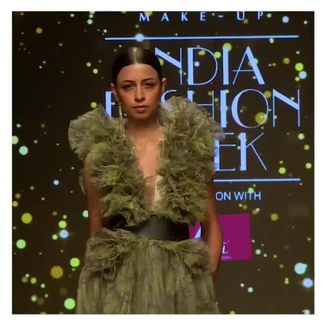 Green pleated snake print gown with ruffles by #DollyJStudio at #FDCI #LMIFW Autumn Winter '19