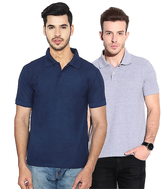 Men's Cotton Blend Polo T-Shirt (Pack Of 2) ₹500 Features Sleeve : Half Sleeve Fit : Regular Fit Occasion : Formal Wear Neck Type : Polo Neck Material : Cotton Blend Ideal For : Men Pattern : Solid Pack Of : 2