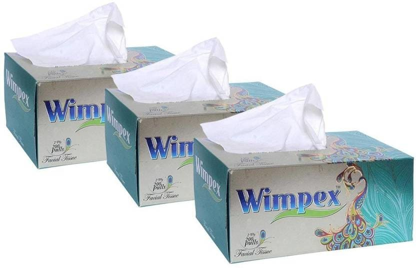 Wimpex Velvet Soft 2 Ply Facial Tissue Box - 200 Pulls (400 Sheets, Pack of 3 boxes), made from Virgin paper White Napkins  https://bit.ly/2H0Wcvw