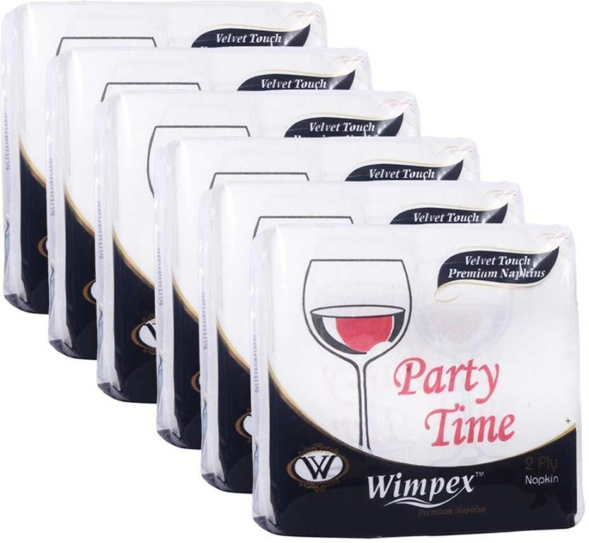Wimpex Velvet Soft 2 Ply Ultra Soft Designer Paper Napkins - Set of 6 packs with 50 Serviettes each (Total 200 Serviettes) White Napkins  https://bit.ly/2TgwyJS