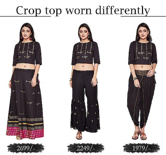 Crop top worn differently!  https://9rasa.com/collections/sr-outfits  #9rasa #colors #studiorasa #ethnicwear #ethniclook #fusionfashion #online #fashion #like #comment #share #followus #like4like #likeforcomment #like4comment #newarrivals #ss19collection #ss19 #croptop #worn #different