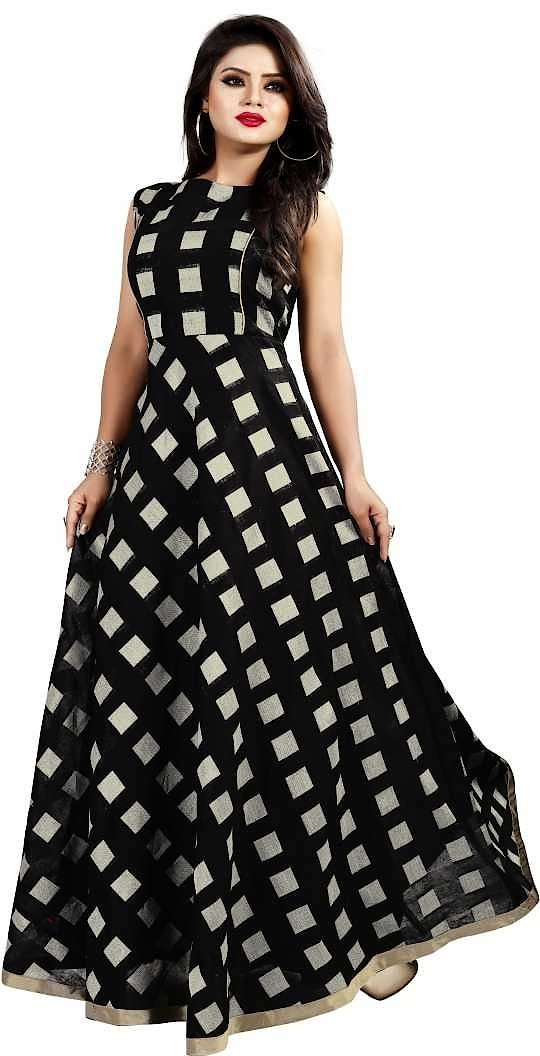 Women's Chanderi Checkered Printed Long Gown ₹660 FREE SHIPPING Features Sleeve : Sleeveless Occasion : Ceremony Wear Work : Printed Length : Long Dupatta Length : NA Neck Type : Round Neck Type : Anarkali Material : Chanderi