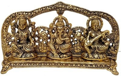 "Arihant Laxmi Ganesh Saraswati Idol Gold Plated Showpiece Statute, for House Warming Gift & Home Decor Congratulatory Gift, Gift, Return Gift   Arihant presents you this beautiful, unique & gorgeous hand work on solid metal figure of hindu gods Laxmi Ganesh Saraswati. Bless your place and heighten the beauty and spirituality of your house or work place with this Handmade God Ganesha Sculpture.Ganesha is the remover of obstacles, the deity whom worshipers first acknowledge when they visit a temple. He is worshipped for success (siddhi) in undertakings and intelligence (buddhi). He is worshipped before any venture is started. He is also the God of education, knowledge and wisdom, literature, and fine arts. Ganesha is the legendary scribe who, using his broken tusk, which he often holds, wrote down parts of the Mahabharata epic.This Handmade Gods Sculpture is fully artisan crafted in India, making it a truly authentic figurine. This Handmade God Ganesha Sculpture is designed in brass using sand casting technique and has a golden color to it.Place this calm art piece in your living room for an effervescence beauty or gift it to your loved ones before he/she enters a new phase in life. Goddess lakshmi in diwali lakshmi is the goddess of wealth and prosperity. The word ''lakshmi'' is derived from the sanskrit word laksme, meaning ""goal."" she is also called ""shri"", the female of the supreme being. She is worshipped for success and personal virtues. Devi lakshmi was emerged during the churning of the celestial milky ocean by the gods and demons. Lakshmi chose vishnu as her consort. Vishnu carried lakshmi from the ocean into his heaven. Each time vishnu descends on earth as an avatar. He is accompanied by an avatar of lakshmi. She was born as sita when vishnu appeared as rama, she was rukmini when vishnu appeared as krishna and she was padma when her husband came as vamana. Lakshmi puja is performed for prosperity, material abundance, and spiritual prosperity. She is worshipped to remove troubles that prevent us from starting a spiritual path or business. Hindus worship goddess lakshmi in houses  BUY NOW- https://amzn.to/2UW2UY4"