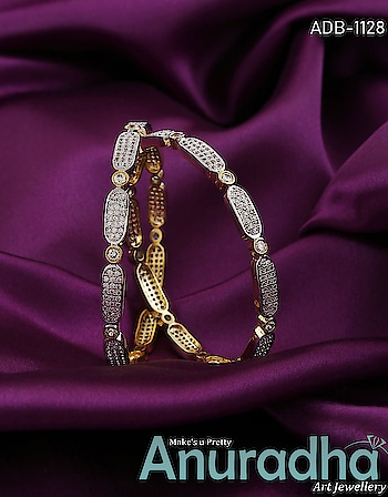 Simple yet very pretty this pair of american diamond bangles from Anuradha Art Jewellery. Get more designs on this link: https://bit.ly/2Q5saZn #bangles  #americandiamondabangles   #onlinebangles  #newbangles  #fashion  #womensjewellery  #jewelry  #jewellery  #womensfashion