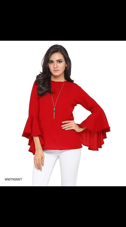 Ruffle Sleeves Crepe Tops - - #fashion #style #stylish #love #photography #instapic #me #cute #photooftheday #nails #hair #beauty #beautiful #instagood #instafashion #pretty #girl #girls #eyes #model #dress #skirt #shoes #heels #styles #outfit #purse #jewelry #shopping