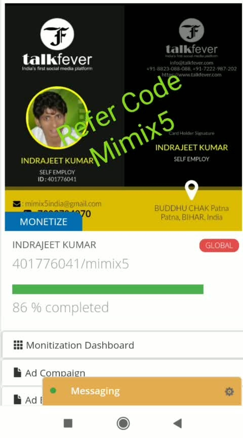 """🎍🌴🍀🍇📱Talkfever🎋🎍🌲🌱  🙏Income planne (global user)🙏  1 level = 10 friends × 16 = 160 Rs 2 level = 100 friends × 4 = 400 Rs 3 level = 1,000 friends × 4 = Rs 4,000 4 level = 10,000 friends × 4 = 40,000 Rs 5 level = 100,000 friends × 4 = 4,00,000Rs 6 level = 10,00,000 friends × 4 = 40,00,000 7 level = 1.00,00,000 friends × 4 = 4,00,00,000 rupees Only joined 10friends Eran money 4 korer  🌲🌳dely income🌴🍀  Login = 1,00,00,000 × 0.00 = 1,00,000 Like = 1,00,00,000 × 101 = 20,00,000 Chat = 1,00,00,000 × 0.60 = 20,00,000 Come./share = - """"--- '' = - = 20,00,000 -------------------------------------------------- ---------- Total (income) = 81,00,000  👍👍 If you want to income dely than  signup it👇👇👇👇👇👇👇  https://talkfever.com/Home/Registration?id=Mimix5 More details call / whatsapp: -📱 7903784070📱 🍀🌹Martin Luther said: - *🍀🌹  * """"If you can not fly, if you can not run and run, then, come on. * If you can not walk, then penguin. * * But keep moving ahead. """"* * Change your thinking and direction Success will welcome you"""