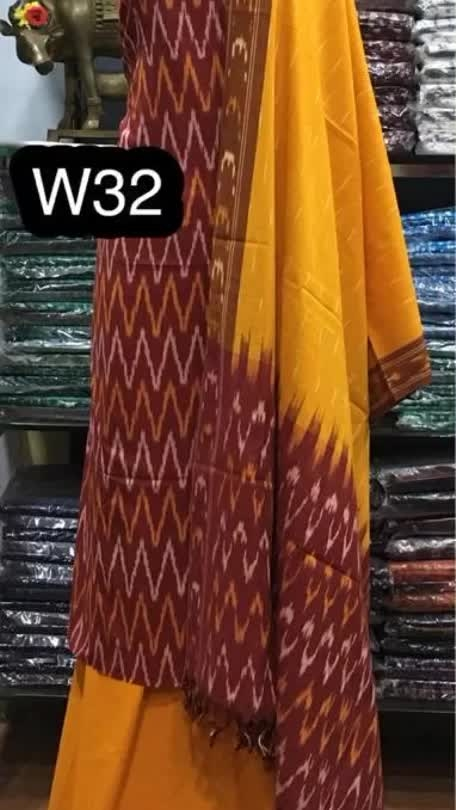 Rate:1200/-  Handloom Ikkat Cotton dress materials *  *Top          2.5 meters * *Dupatta 2.5 meters * *Bottom   2 meters* *Colours may vary slightly from photography**