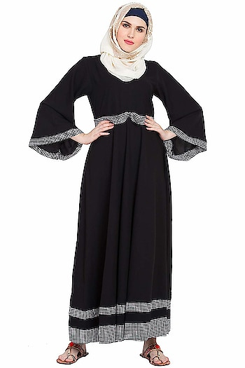 Sabah fashion Black & White Bell Sleeves Abaya Burkha Dress for Girls, Ladies & Women  Rs: 1,720  Care Instructions: Hand Wash Care Instructions: Dry wash, machine wash or hand wash can be done Color: Black & White Crafted by comfortable, soft kashiboo fabric Stylish look with plated design abaya Colours displayed may vary slightly due to changes in lighting  https://amzn.to/2HE2PFa