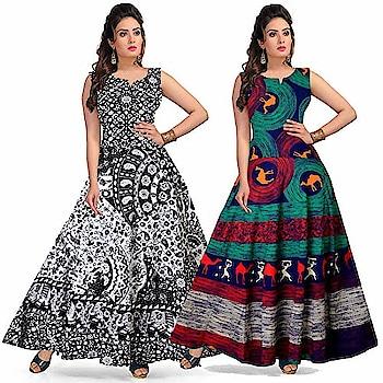 Silver Organisation #Designer Cotton Women Maxi Long #Dress #Jaipuri @ Rs.729. Buy Now at http://bit.ly/2CLH2Y6