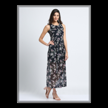 The Secret of great style is to feel good in what you wear. #floralmaxidress . . . . #trendarrest #trending #trendfollowers #fashion #fashionfollowers #fashionista #womenswesternwear #onlineshopping #clothingbrand #fashionnova #floral #maxidress #sleeveless #sheer #instafollow #instalikes #beauty #pretty #navyblue  #wednesdayvibes #postoftheday