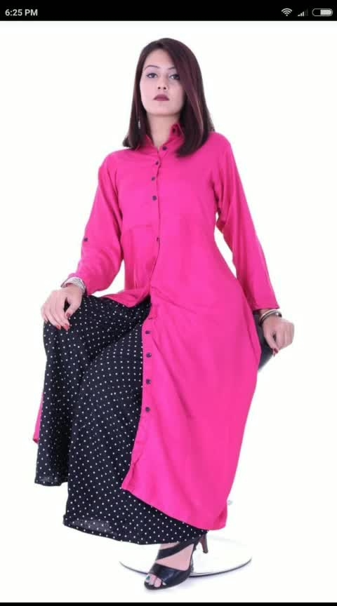 """💞 *Exclusive fab! Combo*💞 (Kurti with plazzo)  *KURTI DETAILS*👗  Fabric :Reyon (heavy 14kg) Front: button length :50 Size: free 40/42/44 With belt *Roll-up sleeves*   *front open style* Can wear as long dress Can wear as open shrug style Your choice your way  *Plazzo Details*  *Fabric:- cotton* Length-40"""" Size -free (elasticated *(Full Flair* )   Exclusive set🎀 Quality assurance👍 Set the Trend💫 Look Simply Gorgeous And Be Drenched In Ethnic Flavour By Wearing This Kurti combo❣  Price - *950* freeshipping (Inclusive of Gst) #roposo-india #indian #fashion_online #womens-fashion #roposoness #instagram #facebook #MyShop_Your_Love #To #buy #dm #dmfororders #dmforquery #dmfordetails"""