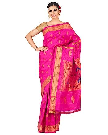 Pink paithani in single color. To buy now click www.onlypaithani.com  #silksaree #handloomsaree #weddingsilksaree #ethnicsaree