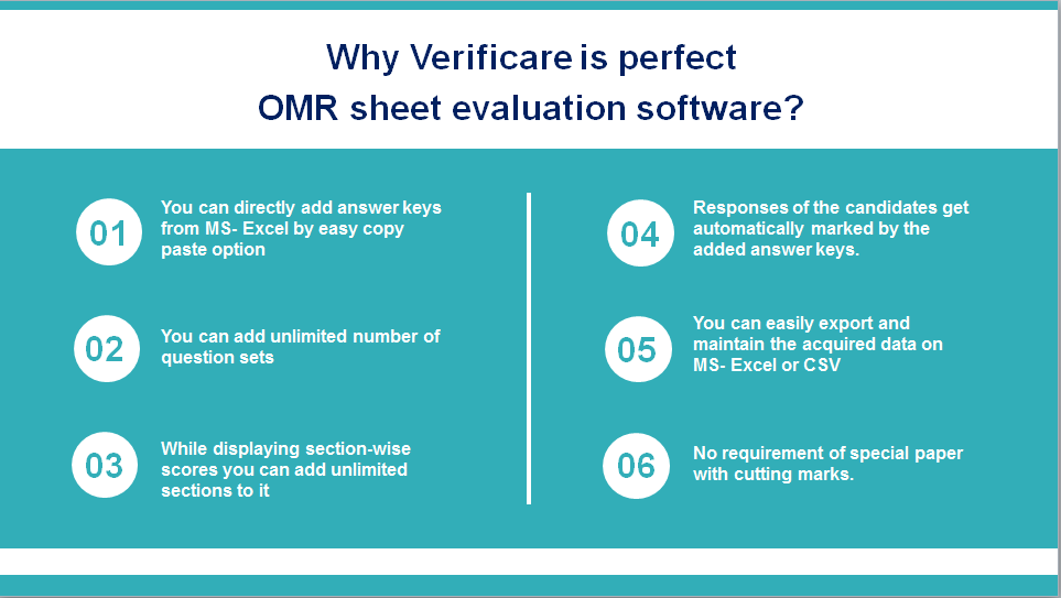 Do you know what makes #Verificare the most preferred #OMR Sheet Evaluation #Software?  ✔️ 2000+ customers across the globe ✔️ Only software that guarantees 100% accuracy ✔️ Reads 300 OMR sheets in a minute ✔️ Create customized OMR sheets ✔️ No dependency on special paper while printing  ✔️ Any normal scanner can be paired with the software ✔️ Reread Faulty Files ✔️ Data Sorting  This is just the beginning… it has got many more features to be explored.  Contact today:  +91 7303873111 sales@omrhome.com https://www.omrhome.com/  #Download a free demo - https://bit.ly/2BP04fB