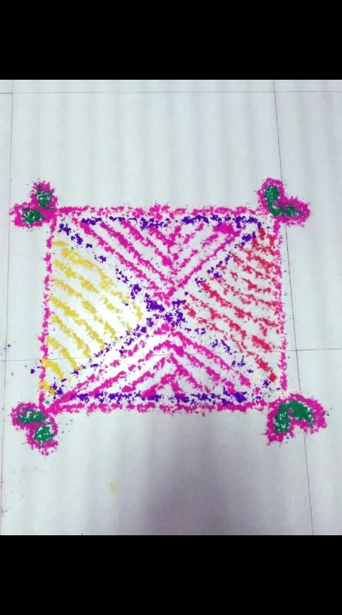 Rangoli made with the left over #gulaal of holi.   Have you ever thought of reusing gulaals which are of no use once holi festival is over..?   #gulaal can be used in multiple ways, and, one among them is ,for making #rangolidesigns .  Once holi festival is over, don't throw away the colours which are left over. Keep them separately in a dry space. Re use these colors for making a #rangolidesigns for your choice on every occasion.   I made this #rangolidesign for the Hawan Ceremony conducted after #navratri #puja . On #durgaashtami their is a tradition of performing a Hawan ceremony, which brings positivity in the house.   Within 5 minutes, I made this #rangolidesign which looks so colorful and traditional.  So, next time don't throw away the left over colors of holi festival.   Subh Navratri.  #ropo-bhakti #navratri #durgapujo #durgaashtami #devimaa #lukbukbyshonail