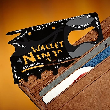 Ninja Wallet This perfectly flat multi-tool packs six wrenches, four screwdrivers, two rulers, a cellphone stand, a bottle opener, a can opener, a letter opener, a box cutter, and a fruit peeler into a single piece of steel the size of a credit card. only for Rs. 299 #flintstop #ninja #mordern #wallet #flintstop #multifuncional #modern #roposo #ninja #easy #flintstopping