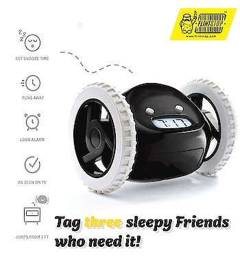 Always sleepy? Late to work coz alarm went on snooze? Wellll, we have a solution!! The Running alarm clock....(wakes you up faster than your mom😅😂😅) Rs. 1499 #flintstopping #alarmclock #running #runningalarmclock #sleepymornings #late #snooze