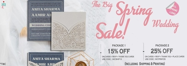 #IndianWeddingCards are offering a discount of Up to 25% on our exclusive range of wedding cards and stationery.  https://indianweddingcards-online.quora.com/The-Big-Spring-Wedding-Sale-by-IndianWeddingCards  #WeddingSale #SpringSeasonSale #SummerSale