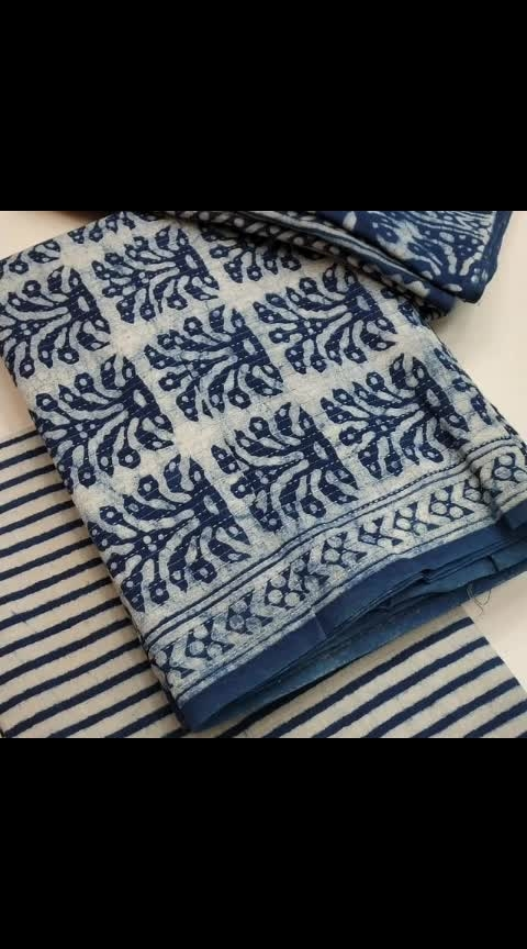Rars:1250/-  🌹 pure cotton indigo suits 🌸🌸2.5 MTS  pure cotton Katha work top with indigo block print top🌸🌸  2.25 MTS soft cotton indigo block print salwar 🌸🌸2.25 mtsvery soft cotton block printed dupatta