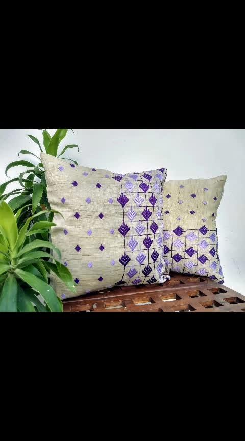 Embrace summer with these cotton Phulkari cushion covers. Shop now and get 10% off.  Offer Valid on selected on merchandise..!! . . . #aseesbyaakriti #asees  #phulkari   #cushioncover  #phulkari_collection #threadwork  #traditional_phulkari #indian_phulkari_designs #instafashion  #roposo-fashiondiaries   #homedecor  #interiordesigninspo #interior #decorate   #designlife #homedesign  #handmade  #homesweethome  #interior   #furniture #luxury   #homedecoration #homestyledecor #interiordecor #instahome #interiordesigner  #homeideas #indianinteriors #indiandecorideas