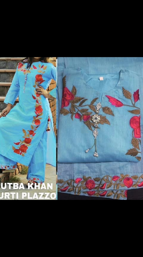 *Rutba Khan* *Clearance sale* Ths Lohri Give YourSelf A Special Gift😍  *Kurti With Plazo*  Fabric: *Kurti* : Stitched Emb Chanderj Fabric Kurti With Linning Having Beautiful Broch In NeckLine And Tussels On Slit  *Size* :42-44  *Accessoties* : Tussels,Broch  *Plazo* : Stitched Emb Chanderi Fabric Plazo (With Linning)  🧡🧡🧡🧡🧡🧡🧡🧡🧡🧡mil