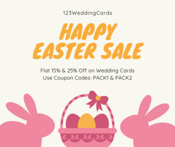 Happy Easter Sale!! Now get flat 15% and flat 25% Off on your complete order value(Including printing + shipping). Get Details & Shop Now: https://www.123weddingcards.com/offers  #eastersale #easter #happyeastersale #easterdiscounts #bunny #sale #offers #discount #deals #easterdeals #egg #eastereggs #springdeals #123WeddingCards