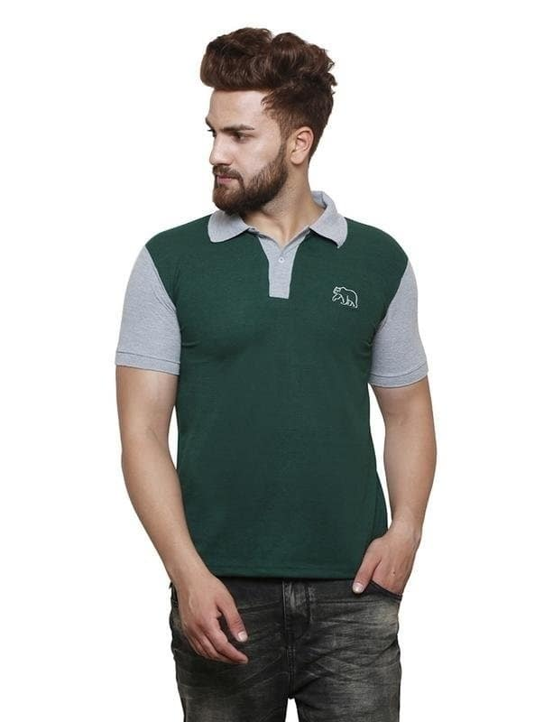 Grand Bear Cotton Stylish Contrast Polo T-Shirt For Men (Dark Green) ₹799 Features Sleeve : Half Sleeve Fit : Regular Fit Occasion : Casual Wear Neck Type : Polo Neck Material : Cotton Ideal For : Men Pattern : Solid Pack Of : 1