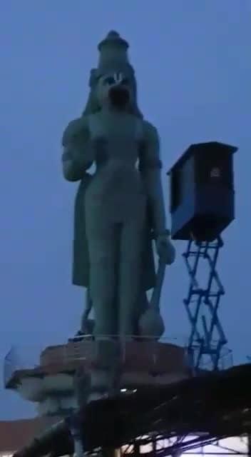 See  What   A  Beautiful Lighting   Effect Is  Given To This Hanuman Statue..  At  Sri   Ganapathy Sachidananda Ashram ,  Mysuru . *See  Till  The  End*