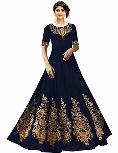 Fast Fashions Women Embroidered Embellished Banglori Satin #Anarkali #Gown @ Rs.525. Buy Now at http://bit.ly/2PcOaSk