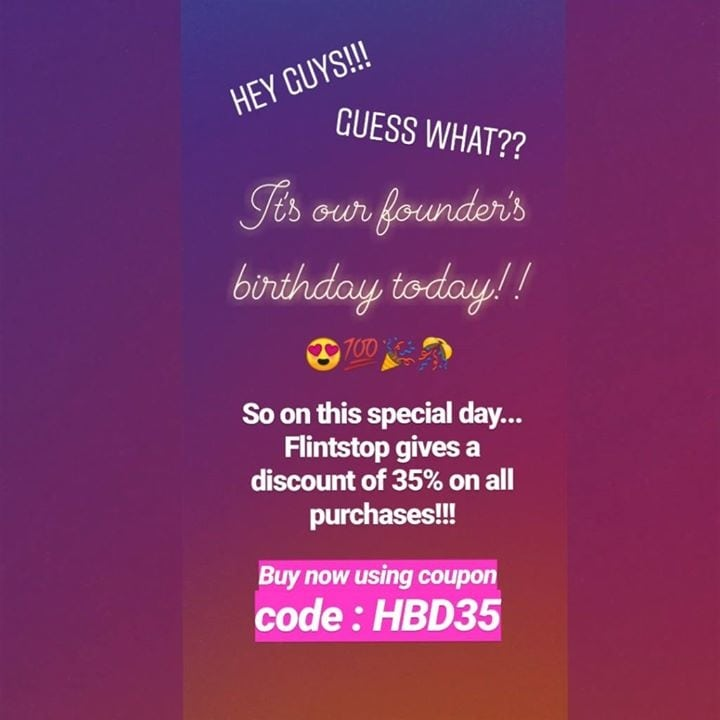 Hurry up guys!! Offer valid till tomorrow, Don't miss it!! Use code HBD35 To avail 30% off https://zurl.co/tzo3  #offer #love #flintstop #quirk #discount #happybirthday  #birthday #sale #party