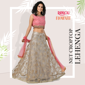 CROPTOP LEHENGA  SKU : RG5070 Material : Net Color : Grey and Pink Size: M38 Price: INR 5700/- only  Visit:- https://www.rangoliindia.com/category/lehenga  #lehenga #bridallehenga #bridallehengacholi #lehengacholi #rangoliindia