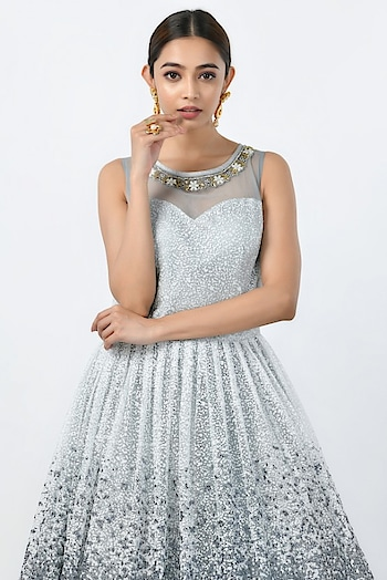 NET SUIT GOWN  SKU: 1696  Material: Net  Color: Steel Grey  Price: INR 8700  Visit: https://www.rangoliindia.com/category/gown  #gown #evening-gown #gowndress #indowesternlook #indowesterngown #rangoliindia #bridalgown #whitegown